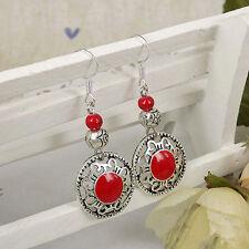 Cute New Tibetan Silver Red Enamel & Bead Charm Dangle Drop Earrings