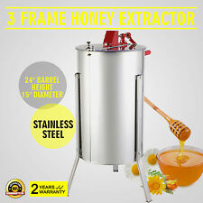 New Three 3/6 Frame Stainless Steel Bee Honey Extractor SS Honeycomb Manual