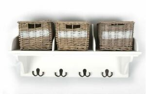 Wicker Storage Unit With 3 Baskets And Coat Hook Hangers Wooden Shelf Rack Stand