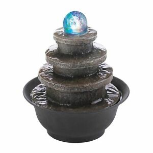 AEWholesale Lighted Stone-Look Tiered Round Tabletop Water Fountain
