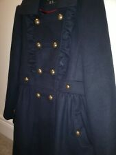 Primark Navy Double Breasted Ruffle Coat. A Line. Gold military buttons. UK 12.