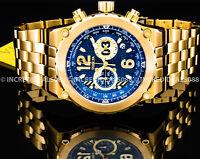 Invicta Men FLIGHT AVIATOR CHRONOGRAPH Blue Dial 18Kt Gold TACHYMETER SS Watch