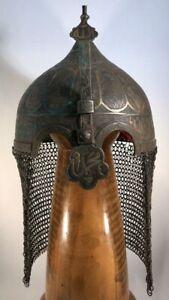 Antique Indo Persian Ottoman Empire Kulah Khud Warrior Helmet w/Chain Mail