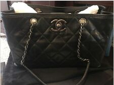 Authentic Chanel Large Zip Shopping 30CM IRI GRA CAL/MAR, Black New In the Box