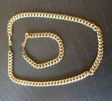 18ct gold plated chain necklace and bracelet set