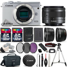 Canon EOS M100 Camera (White) + 15-45mm STM Lens + ULTIMATE Accessory Bundle
