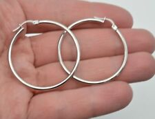 10k Solid White Gold big Large hoop Plain Earrings 40mm x2mm. 1.8gr