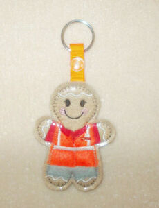 Postman Gingerbread Keyring/Bag Charm.  Embroidered Appliqué - Handmade