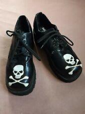 Vintage 90s Hot Topic Black Platform Shoes White Skull and Crossbones Size 10