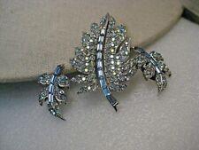 Vintage Blue Rhinestone Demi Parure, Brooch Earrings,  signed Pell, 1960's, AB