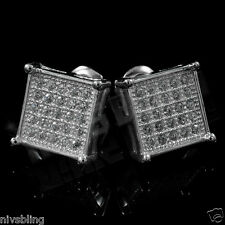18k White Gold ICED OUT Micropave Silver Square Hip Hop AAA CZ Mens Earring 3S