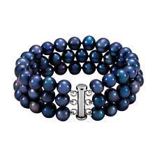Black Freshwater Pearl Triple Strand Bracelet Sterling Silver