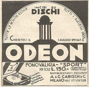 W7039 Odeon - Fonovaligia Sport - Advertising Of 1933 - Vintage Advertising