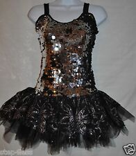 New Adult size Medium attached  shorts TuTu Black silver Costume Dress ballroom