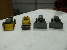 4 Old Tin Litho Mar Marx Construction Equipment Friction Toy Dozer Steam Roller