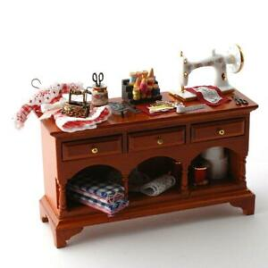 Dolls House Walnut Sewing Table & Accessories Reutter Porcelain Furniture