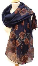 Pretty Rose Floral Pashmina Scarf Wrap Shawl Navy Cerise Pink Brown Grey Gift