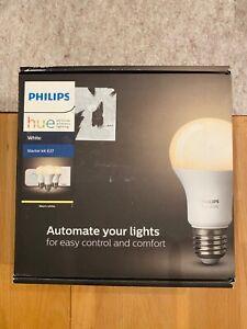 Philips Hue White E27 LED Lampe Starter Set 3 Lampen mit Bridge & Dimmschalter
