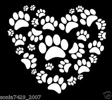 Dog Paw Print on your heart Car Truck Laptop White Vinyl Decal Window Sticker