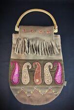 Vintage Sac à main femme à franges «KOOKAÏ» style hippie 60´ Anse en rotin