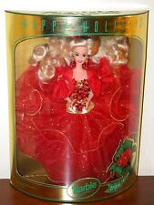 1993 Happy Holidays Barbie NRFB #10824 Red & Gold w/ Poinsettias Christmas Gown