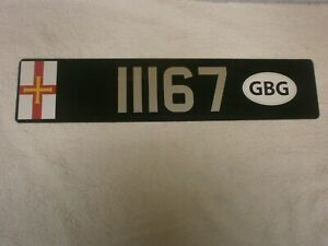 GUERNSEY CHANNEL ISLANDS COUNTRY FLAG & GBG OVAL ID # 11167 RARE LICENSE PLATE
