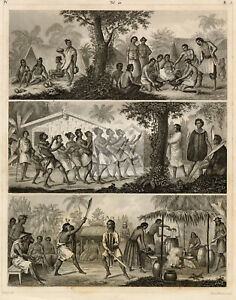 NEW ZEALAND Aborigines - War Dance and Life - Antique 1851 Print #D369