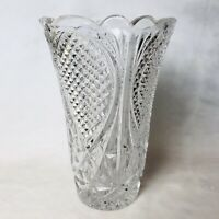 "Vintage Pressed Glass Vase Clear  8"" Heavy"