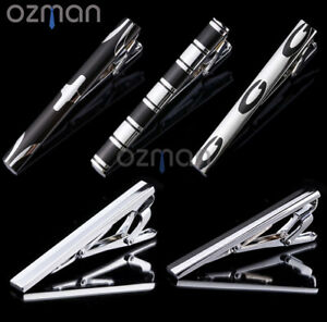 Men 6cm tie clip bar stainless steel wedding business party silver black