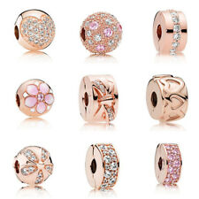 Fashion European Rose Gold Stopper Clip Charm Beads Fit Charm Necklace Bracelet