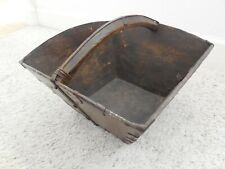 ANTIQUE Chinese Rice Dou or Carrier Basket Measurer Wood & Metal w/markings