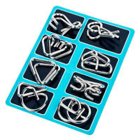 Educational Metal Magic Rings Buckle 8 Sets Puzzle IQ Baffling Brain Teaser Toy