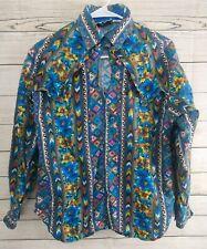 Vintage \u201cMixed Blues\u201d cropped Western Cowgirl Southwestern Print Jacket Blazer Size Medium