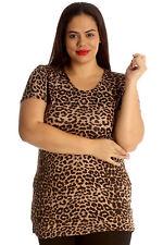 New Ladies Plus Size Top Womens Leopard Print T Shirt Tunic Animal Nouvelle