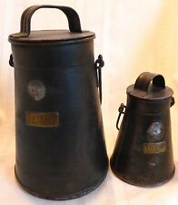 Set of 2 ANTIQUE PRIMITIVE Tin Tole MEASURES 1 Half Pint 1 Quart Covers Handles
