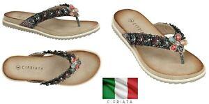Ladies Black Toe Post Flip Flops Flower Flat Summer Sandals Size 3,4,5,6,7,8