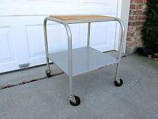 Vtg Mid Century Modern Versatile Industrial Metal Shelf Rolling Cart Stand