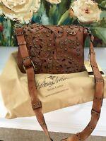 NWT Patricia Nash Leather Studded Brown Rosa Shoulder Bag Crossbody Bag, Gold Ac
