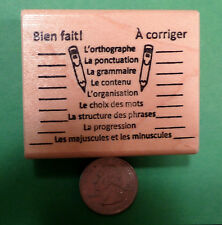 Good Job/Needs Work, French Teacher's Rubber Stamp, Wood Mounted