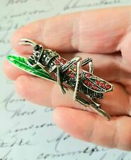 * NEW * Large Enamel and Crystal Silver Tone Grasshopper Brooch