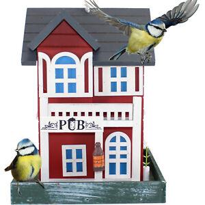 VOGELFUTTERHAUS PUB ROT | Vogelvilla Vogelhaus Futterhaus Holz Vogel Haus hängen