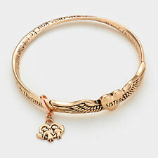 Sister Bracelet GOLD Inspirational Message Gift Love Flower Heat Angel Wings