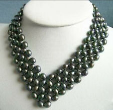 Unique style 5 Rows Nobby Akoya Black Pearl Necklace