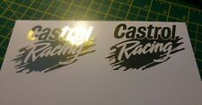 CASTROL RACING Vintage Car Motorcycle Stickers Decals 90mm MIRRORED CHROME GOLD