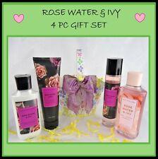 Bath & Body Works ROSE WATER & IVY 4 Pc Gift Set Basket Mist Cream Lotion Shower