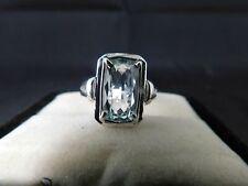 2.11 ct. Long Cushion Aquamarine Ring Simple Sterling Silver