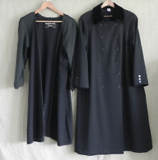 Vtg Ann Klein ll Coats Black 100% Wool Removable Liner Double Breasted Size 8P