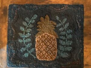 Primitive handmade wool hooked rug, pineapple
