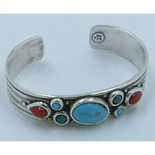 .925 Sterling Silver Natural 3 Shades of Kingman Turquoise Coral Cuff Bracelet