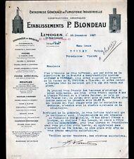 """LIMOGES (87) CONSTRUCTIONS CERAMIQUES / FOURS à FAIENCE """"P. BRONDEAU"""" en 1937"""